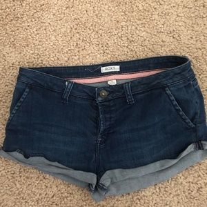 Roxy button fly dark denim shorts